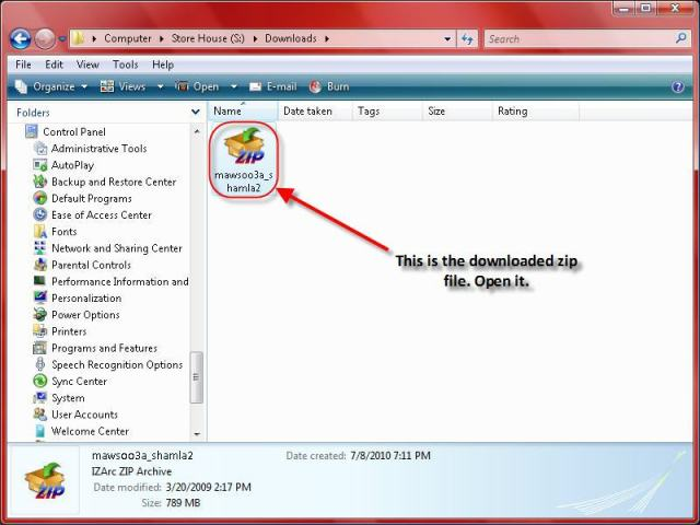 Downloaded library zip file