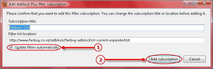 Subscription Dialog for Adblock