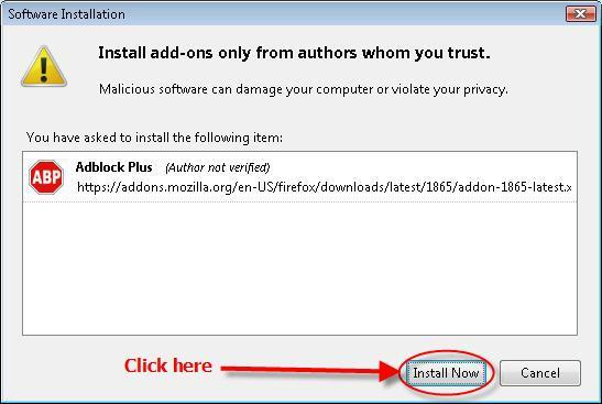 Installing Adblock Plus