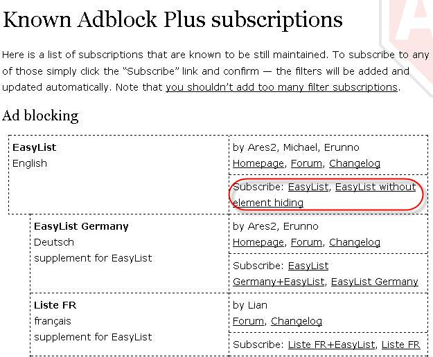 Subscribe to Adblock lists
