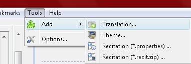 Click Tools -> Add -> Translation...