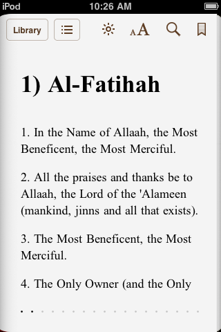 Translation of Al-fatiha in English