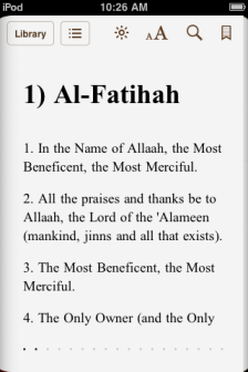 The Noble Qur'an (ePub) showing Surah al-Fatiha, viewed on iPod Touch